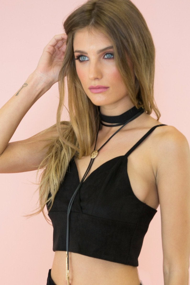 Find Your Suede Bralette - Black - Haute & Rebellious