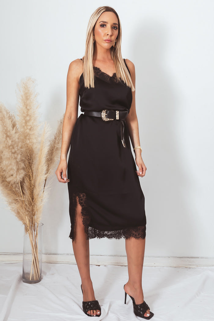 Satin Slip Midi Dress with Lace Trim - Black