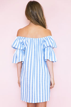 The Weekend Striped Off Shoulder Dress - Haute & Rebellious
