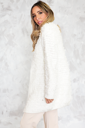 Shag Fur Cardigan Sweater Coat