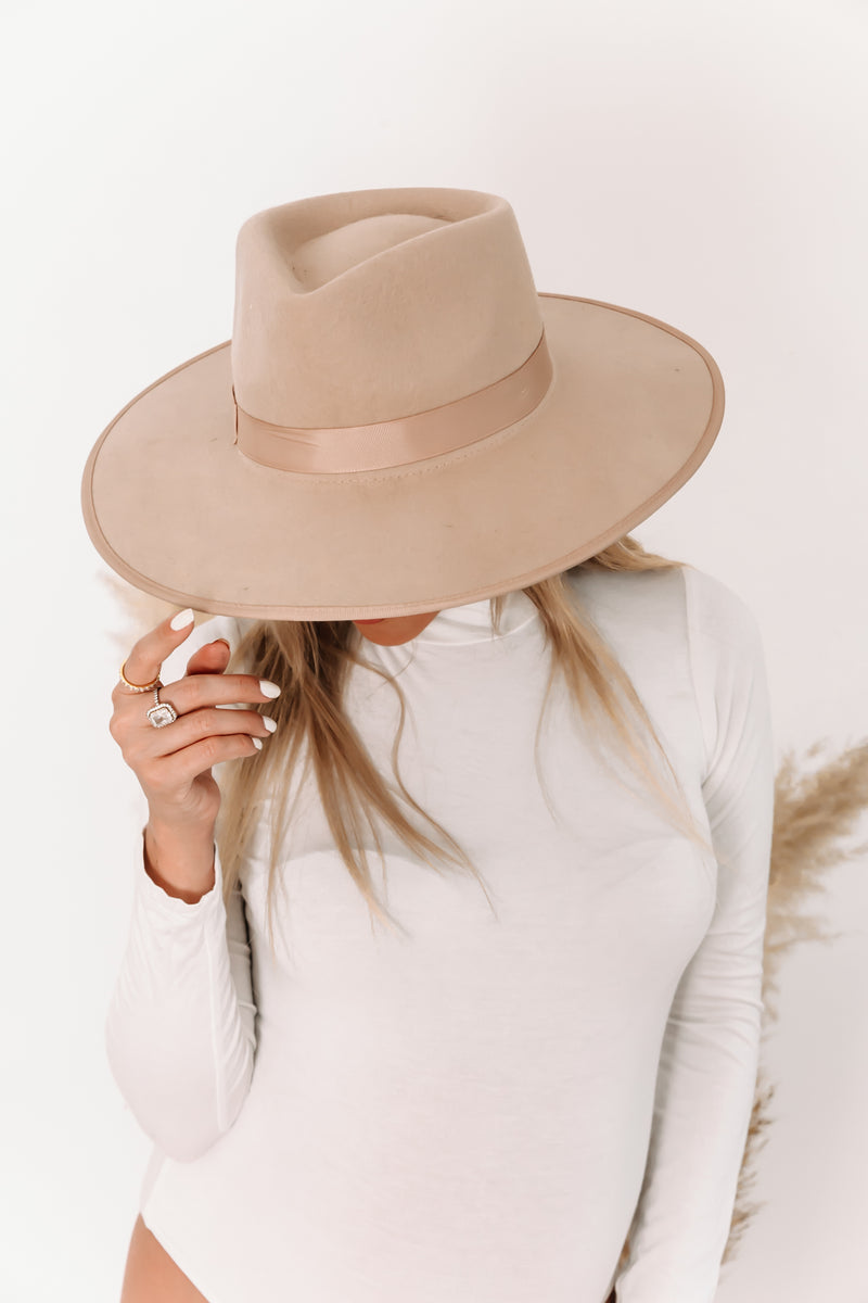 Suede Flat Brim Hat with Trim - Beige
