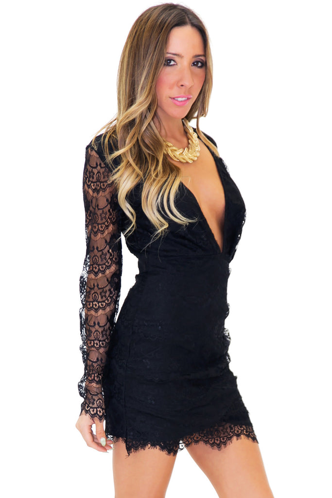 RAPHSODY DEEP-V LACE DRESS