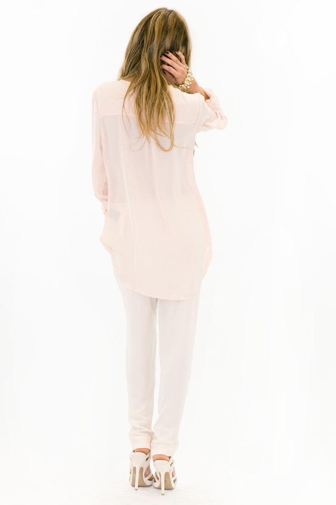 BALDWIN CHIFFON BLOUSE - Blush - Haute & Rebellious