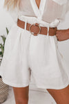High Waisted Shorts with Belt - White