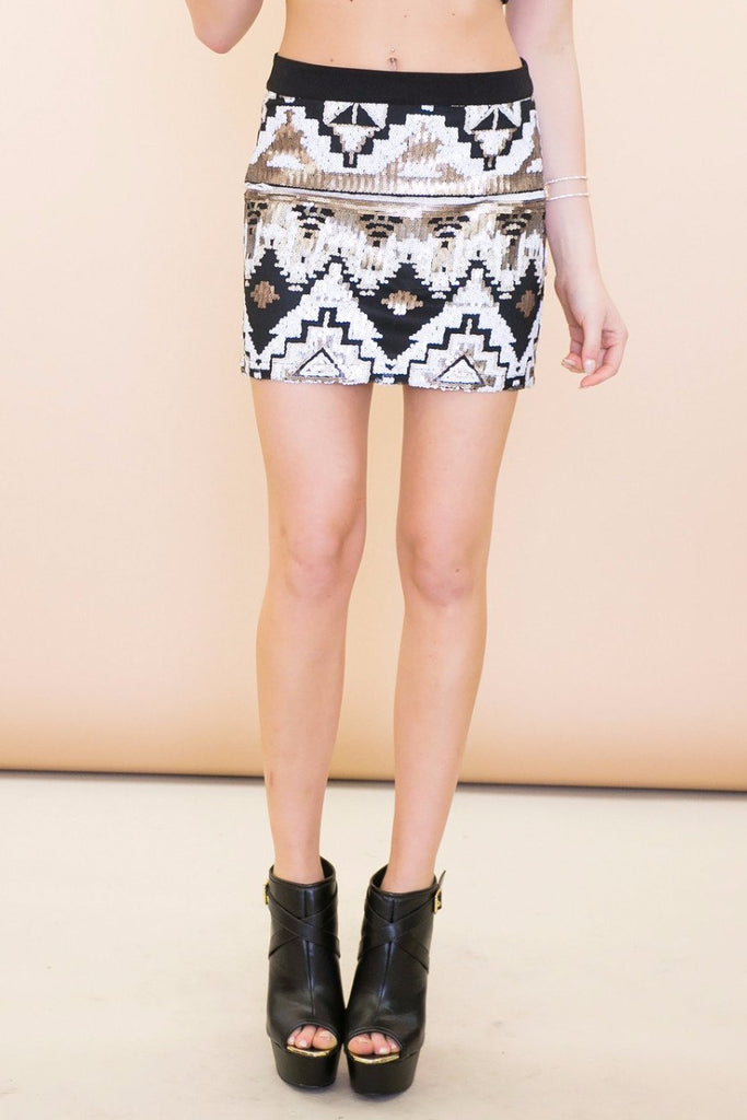 Ashen Tribal Sequin Skirt