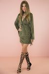 Dara Suede Fringe Dress - Olive - Haute & Rebellious