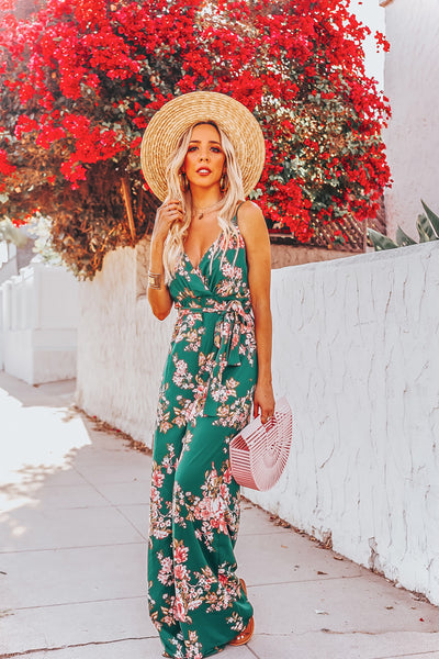 Floral Jumpsuit with Tie Detail