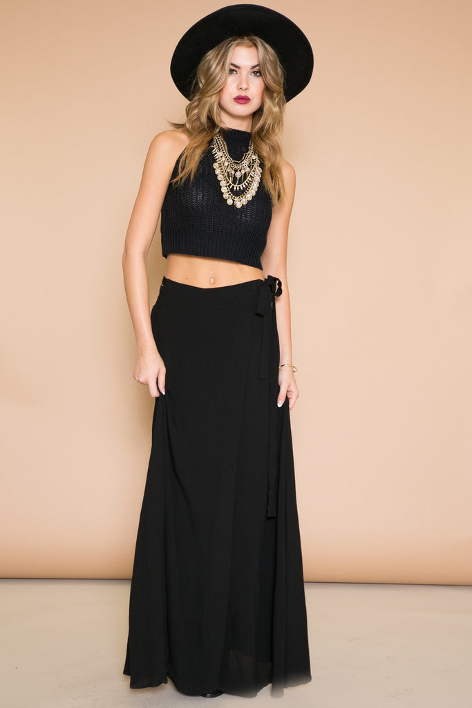 LEYLANA KNIT CROP TOP - BLACK - Haute & Rebellious