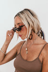 Rectangle Thin Sunglasses - Tort