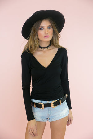 Jane Deep-V Long Sleeve Tee - Black - Haute & Rebellious