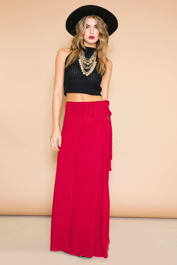 ANJA WRAP TIE LONG SKIRT - WINE
