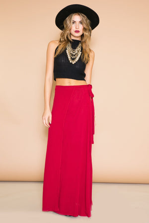 ANJA WRAP TIE LONG SKIRT - WINE - Haute & Rebellious