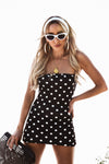 Polka Dot Mini Dress - Black