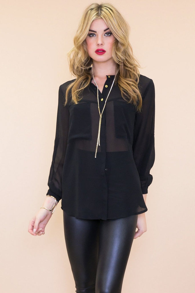 Emery Chiffon Button-Up Blouse - Black