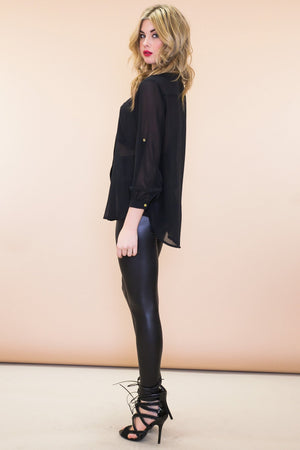 Emery Chiffon Button-Up Blouse - Black - Haute & Rebellious