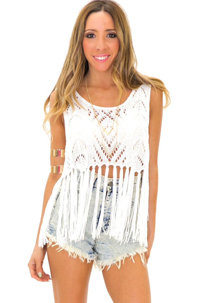 VALLEY CROCHET FRINGE TOP