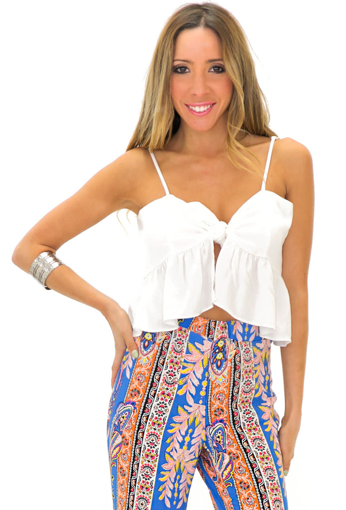 RANDAL RUFFLE CROP TOP - White