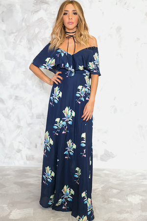 Talk To Me Floral Maxi Dress - Navy - Haute & Rebellious