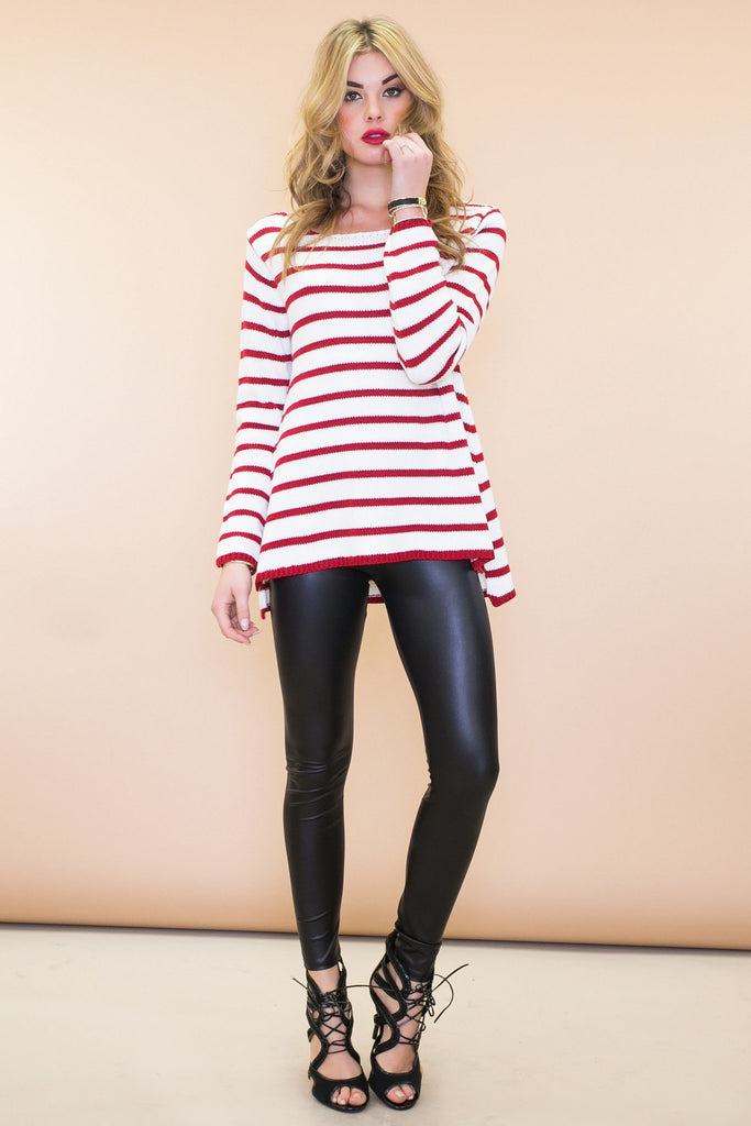 Nalley Striped Sweater - Red - Haute & Rebellious