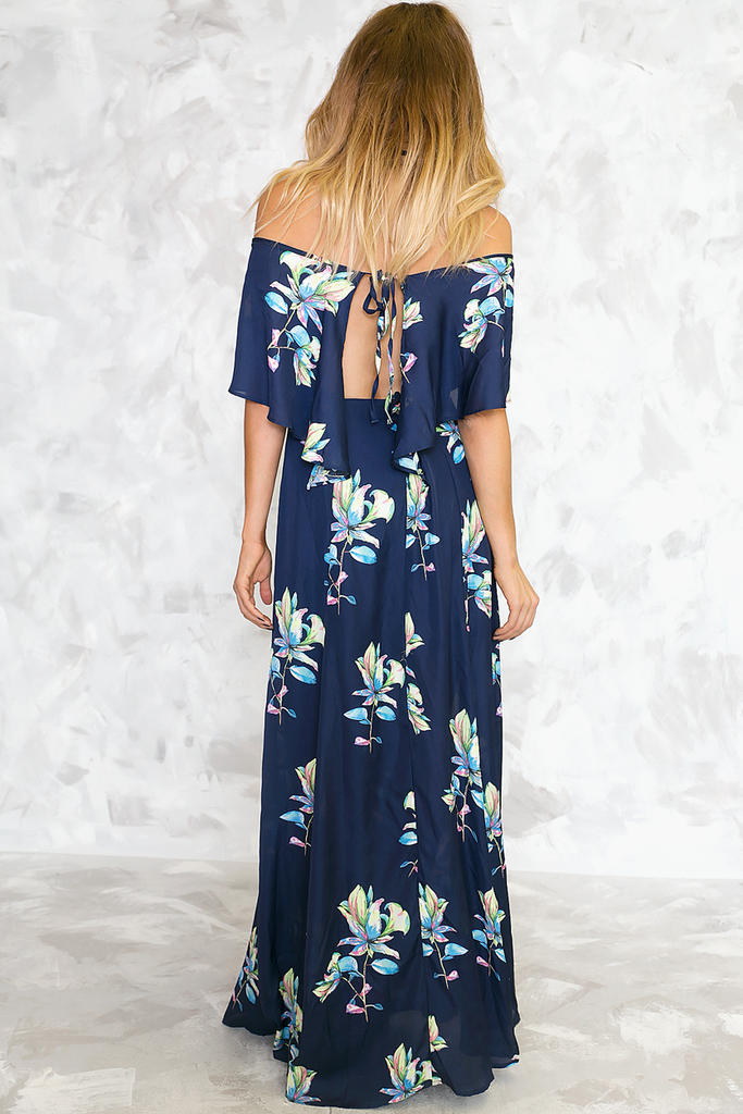 Talk To Me Floral Maxi Dress - Navy