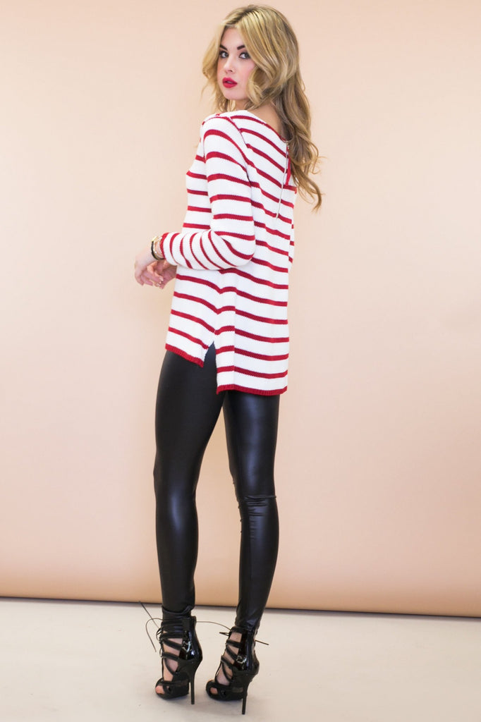 Nalley Striped Sweater - Red