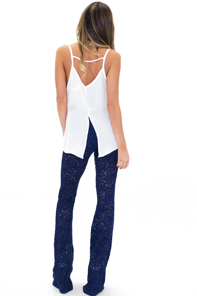 BELL FLOWER LACE PANT - Navy
