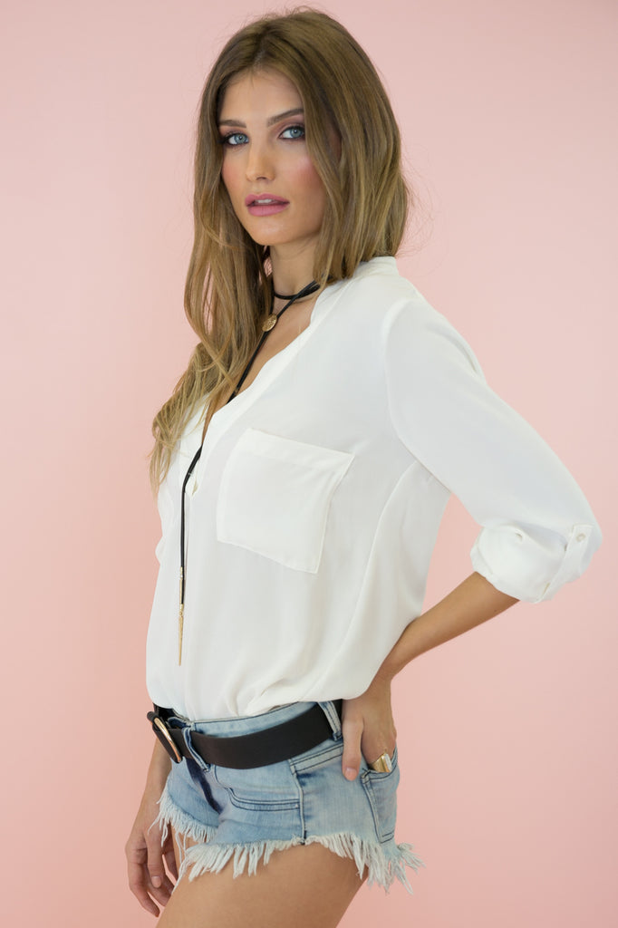 Shay Deep-V Chiffon Blouse - White