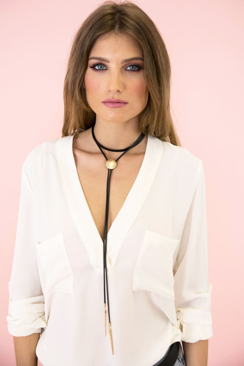 Do Point Leather Long Choker - Haute & Rebellious