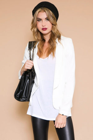 Cain Fitted Single Breast Blazer - White - Haute & Rebellious