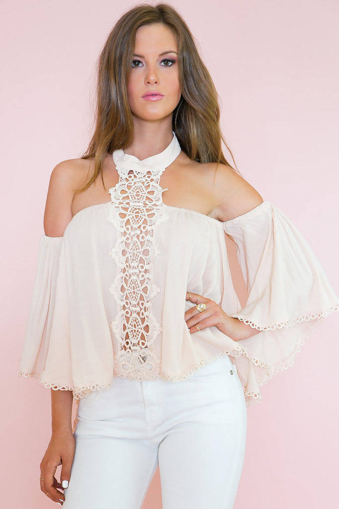 Alyssa High-Neck Off Shoulder Top