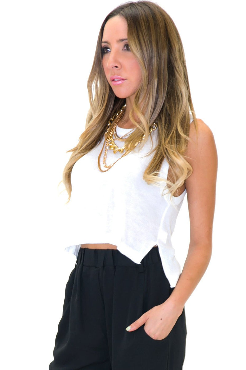 BAKER HIGH-LOW CROP SWEATER - White - Haute & Rebellious