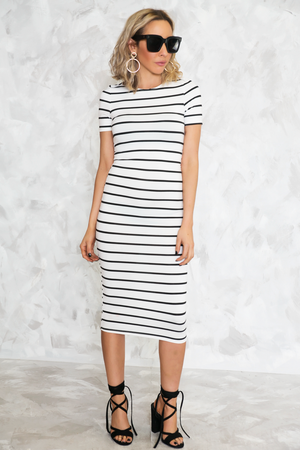 Striped Stretch Midi Dress - White - Haute & Rebellious