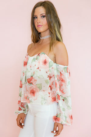 Flower Power Off Shoulder Top - Haute & Rebellious