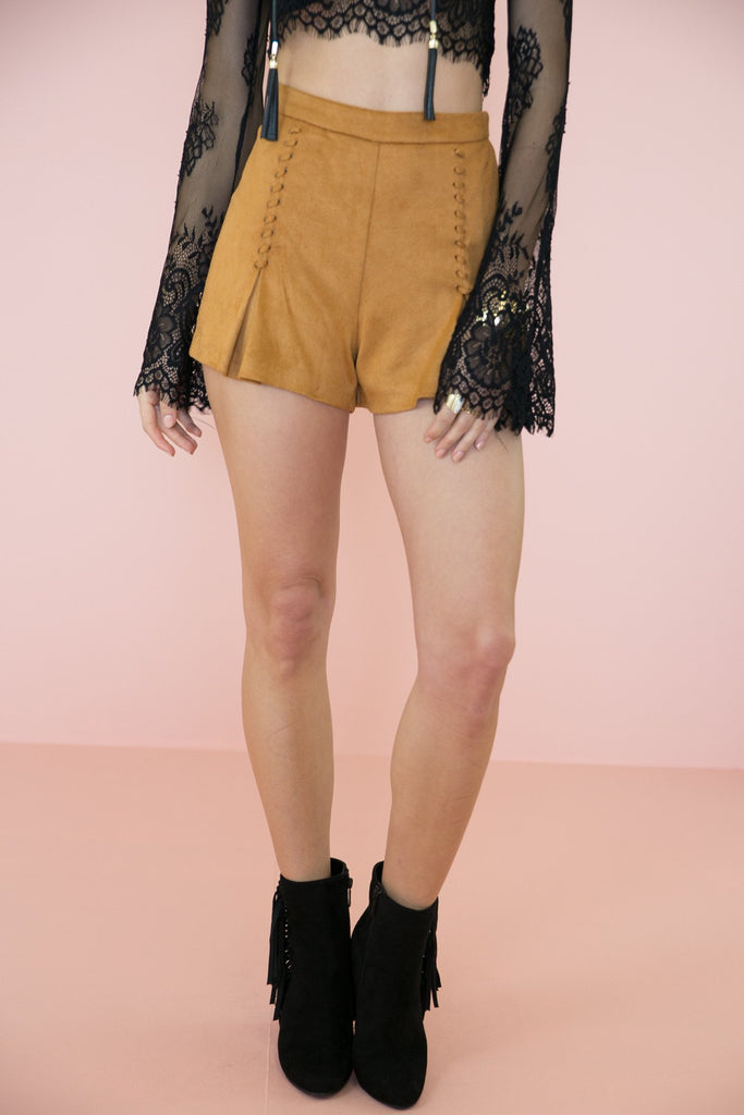Lace Me Up Suede Shorts