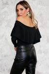 Off-Shoulder Tee with Ruffle - Black