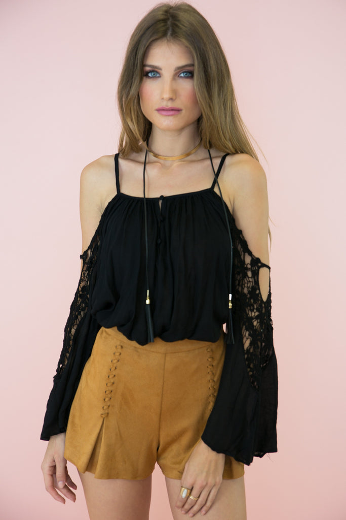 Shoulder Cutout Blouse