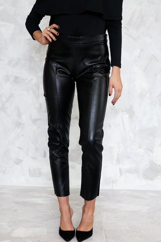 LEATHER  SKINNIES - Black