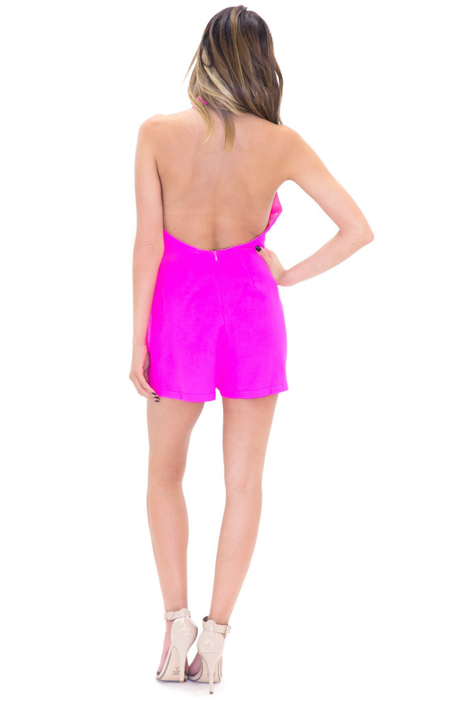 LIZ HALTER PLEATED ROMPER - Pink