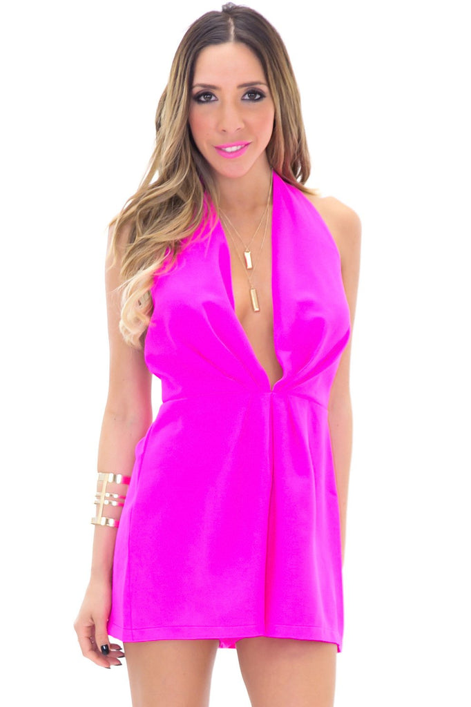 LIZ HALTER PLEATED ROMPER - Pink - Haute & Rebellious