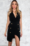 Mini Dress with Gold Buttons