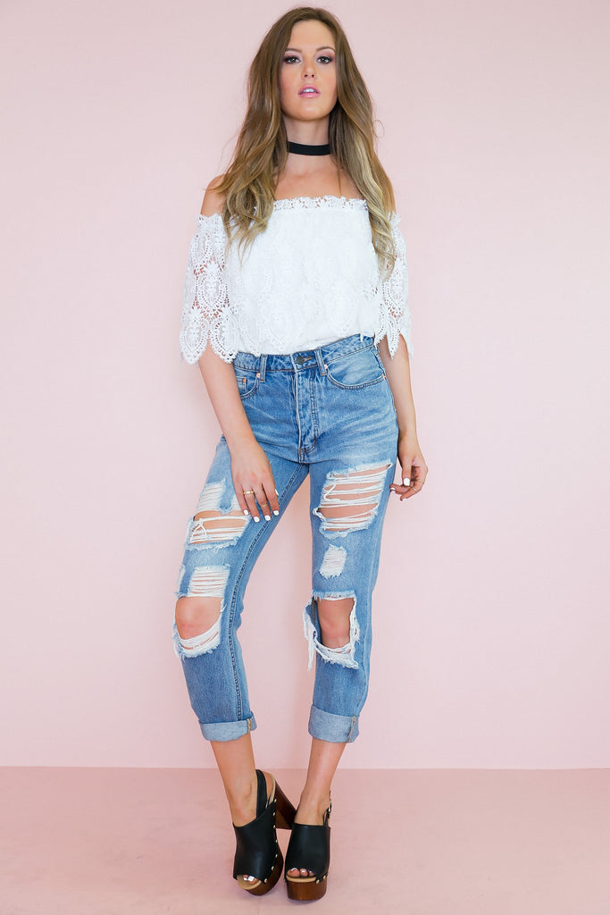 Lace Off My Shoulder Layered Top