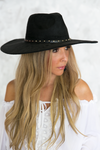 Studded Suede Flat Brim Hat - Haute & Rebellious