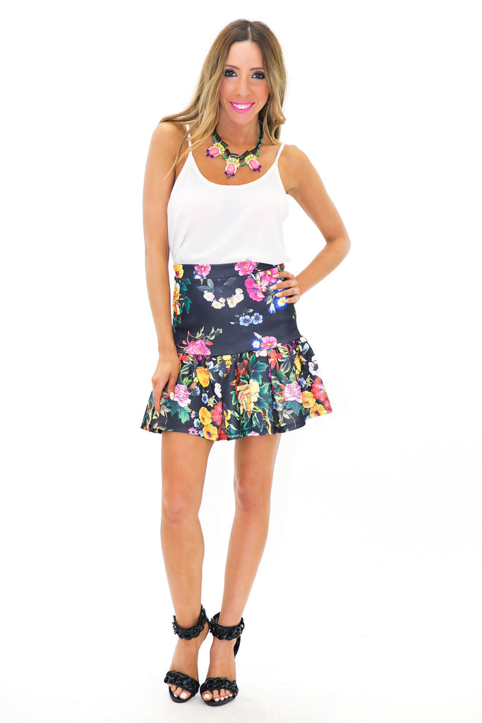 PALM TROPICAL FIT-N-FLARE SKIRT