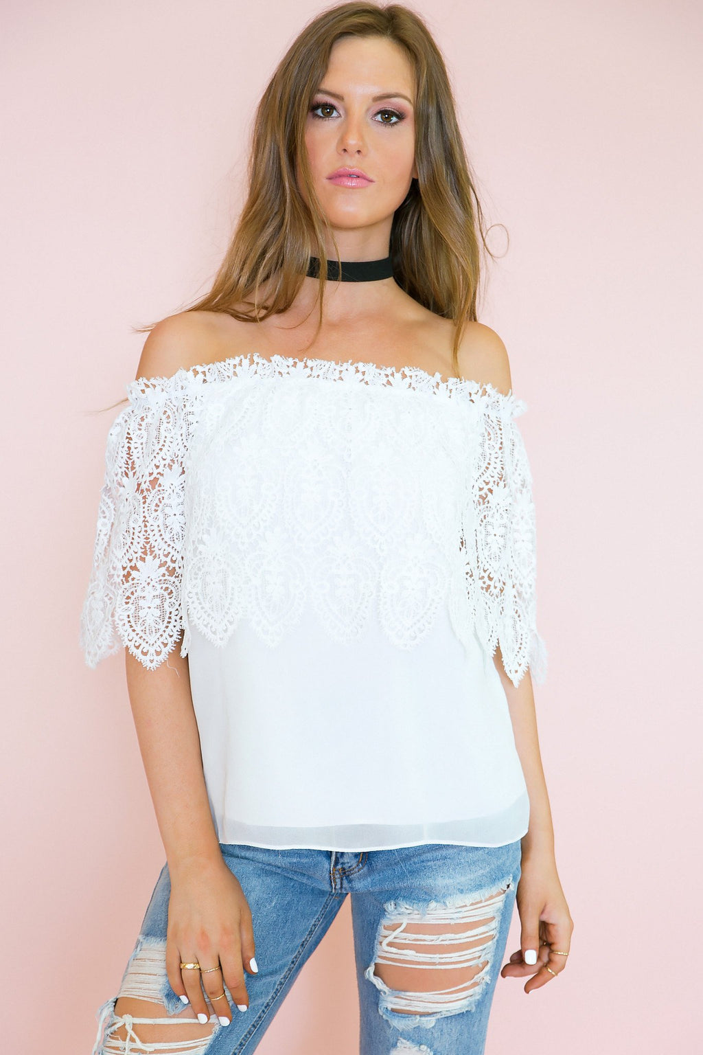 Lace Off My Shoulder Layered Top - Haute & Rebellious