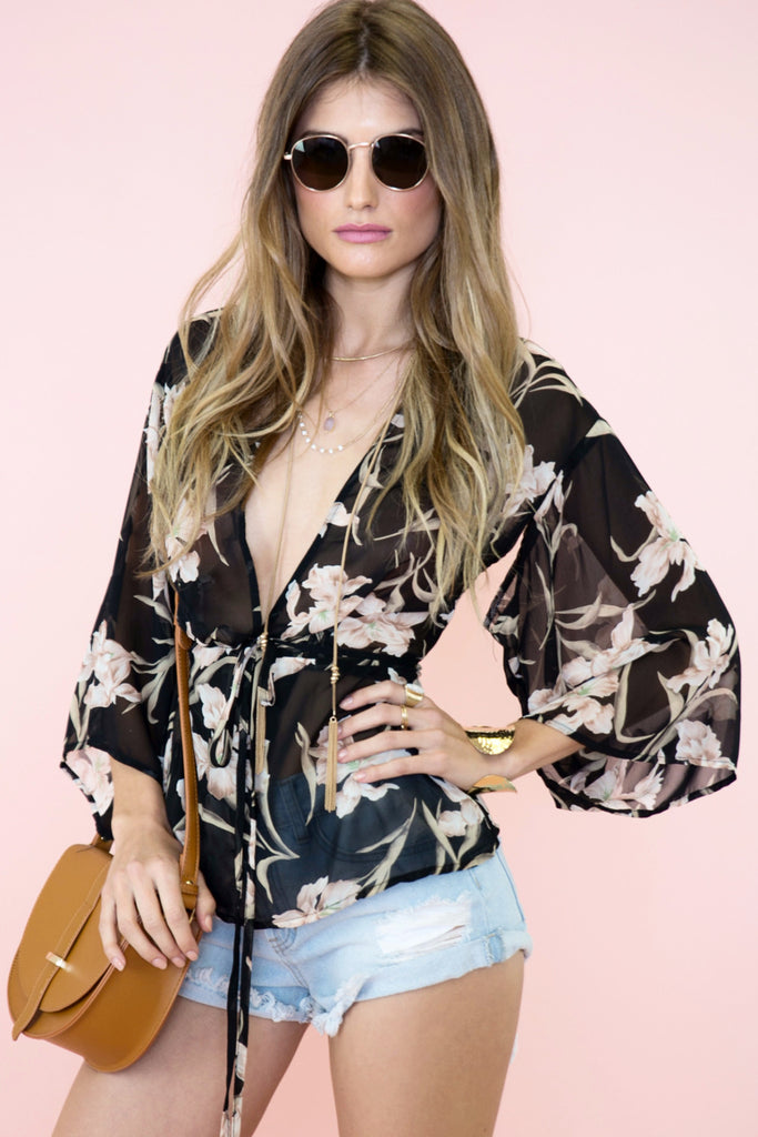 Nyla Flower Print Sheer Blouse - Haute & Rebellious