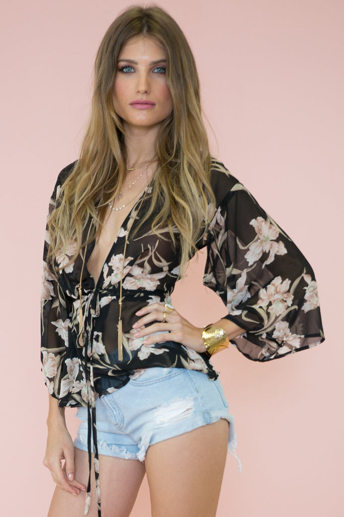 Nyla Flower Print Sheer Blouse