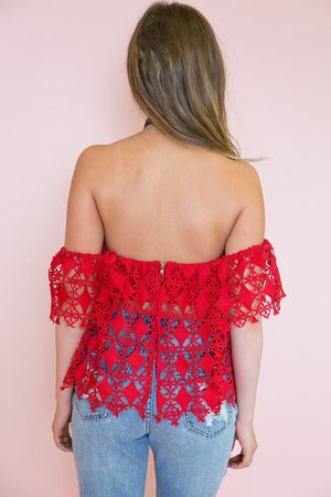 Off-Shoulder Crochet Top