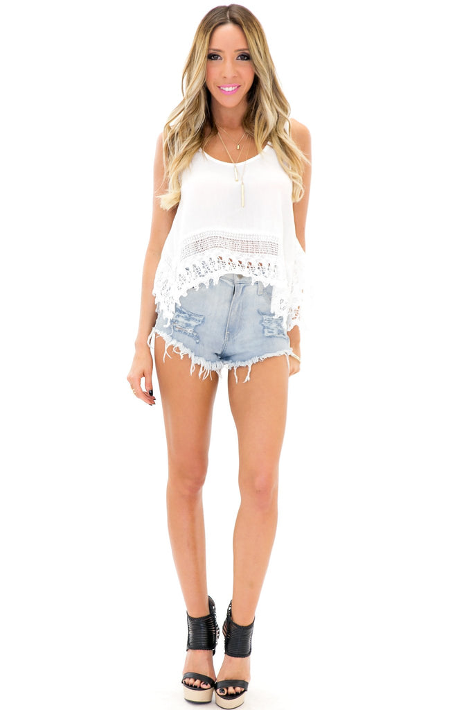 ESTER LACE CROP TOP - White