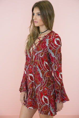 Giah Lace Up Paisley Print Dress - Haute & Rebellious
