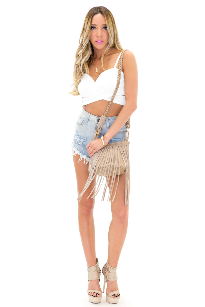 ANEX CRISS CROSS CROP TOP - White